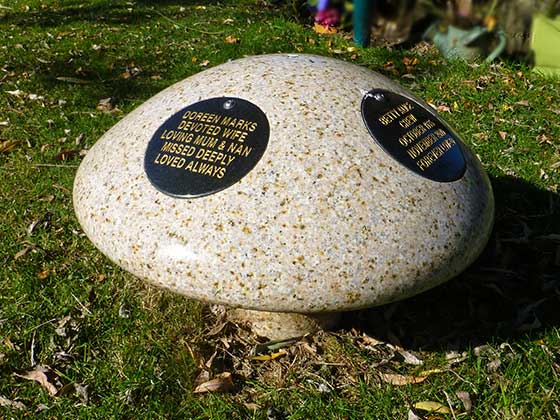 Memorial Mushroom with two plaques attached